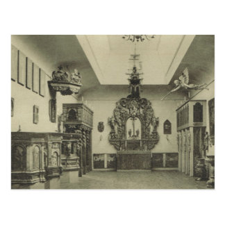 Carved church pieces, Hallands Museum, Halmstad, Postcard
