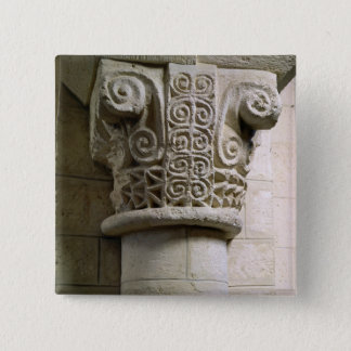 Carved column decorated with croziers and spirals 15 cm square badge