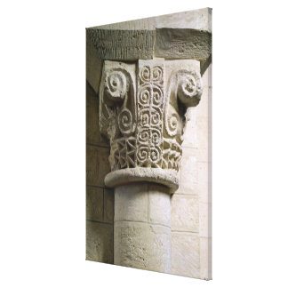 Carved column decorated with croziers and spirals canvas print