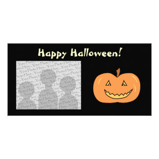 Carved Happy Pumpkin. Halloween. Customised Photo Card