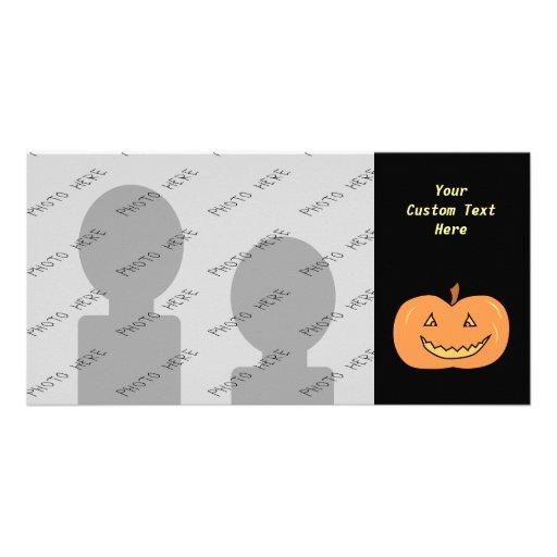 Carved Happy Pumpkin. Halloween. Customized Photo Card