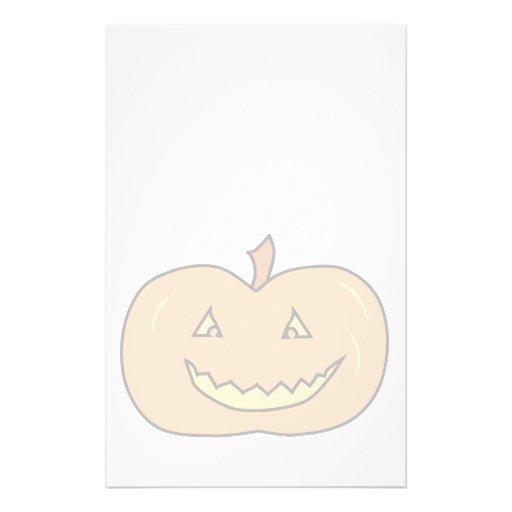 Carved Happy Pumpkin, Pale Colors. Halloween. Flyer