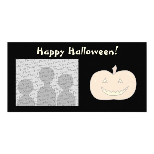 Carved Happy Pumpkin, Pale Colors. Halloween. Picture Card