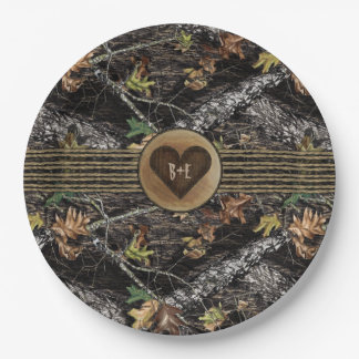 Carved Heart Hunting Camo Party Plates for Showers