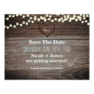 Carved Heart in Wood & String Lights Save the Date 11 Cm X 14 Cm Invitation Card