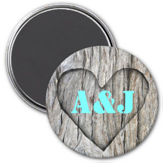 Carved Heart On Wood - Monograms Magnet