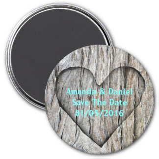 Carved Heart On Wood - Save The Date Magnet