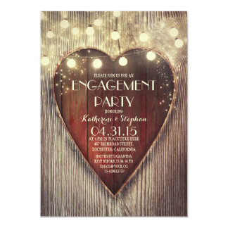 carved heart string lights wooden engagement party card