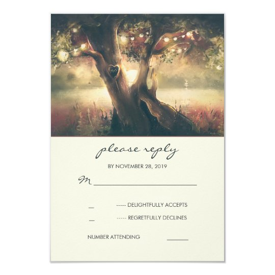Carved Heart Tree Wedding RSVP Cards