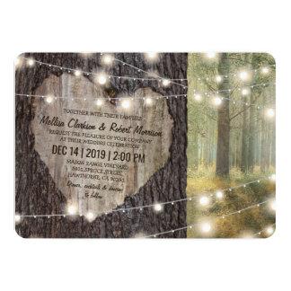 Carved Heart Tree Wedding | Rustic String Lights 13 Cm X 18 Cm Invitation Card