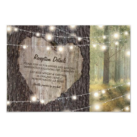 Carved Heart Tree Wedding | Rustic String Lights