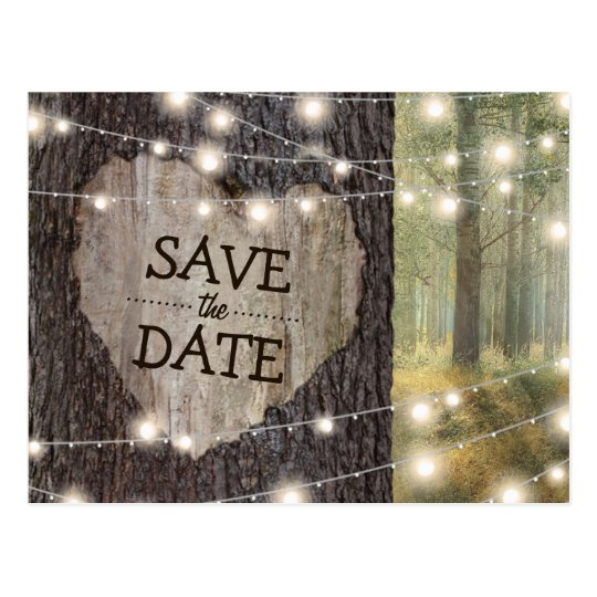 Carved Heart Tree Wedding | Save the Date