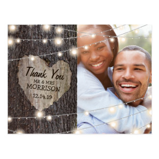 Carved Heart Tree Wedding Thank You Postcard