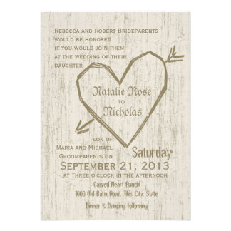 Carved Heart Wedding Custom Invites