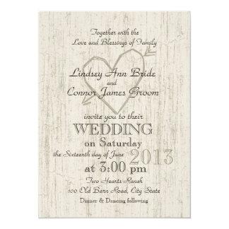 Carved Heart Wood Look Wedding 14 Cm X 19 Cm Invitation Card