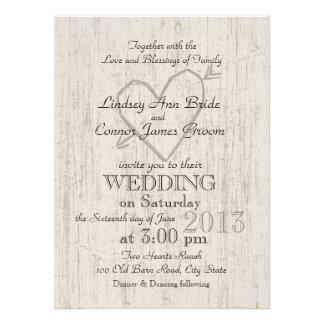 Carved Heart Wood Look Wedding Invite