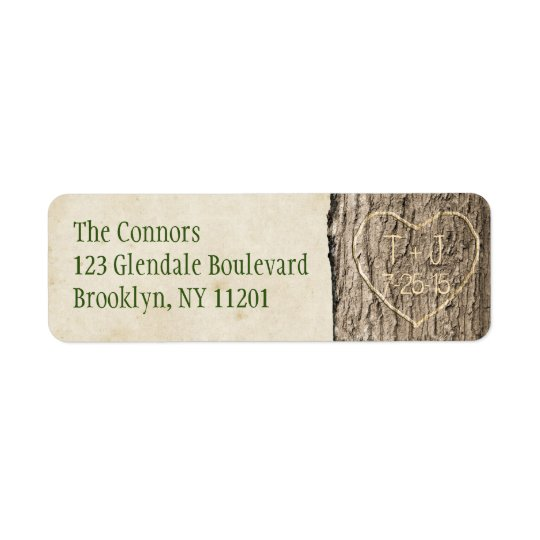 Carved Initials & Date Address Label