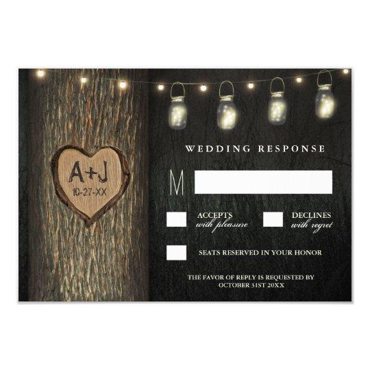 Carved Initials Jars Oak Tree Wedding RSVP Cards