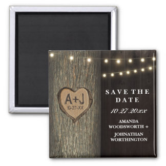 Carved Initials Old Oak Tree Wedding Save The Date Square Magnet