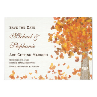 Carved Initials Tree Fall Save the Date Wedding 13 Cm X 18 Cm Invitation Card