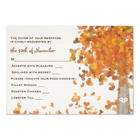 Carved Initials Tree Wedding RSVP Response Card