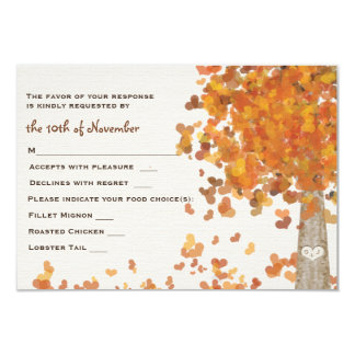 Carved Initials Tree Wedding RSVP Response Card 9 Cm X 13 Cm Invitation Card