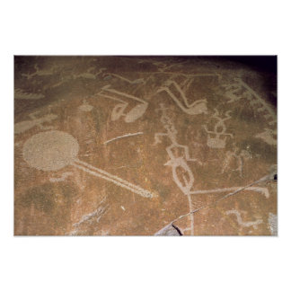 Carved petroglyph depicting figures poster