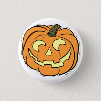 Carved Pumpkin Face 3 Cm Round Badge