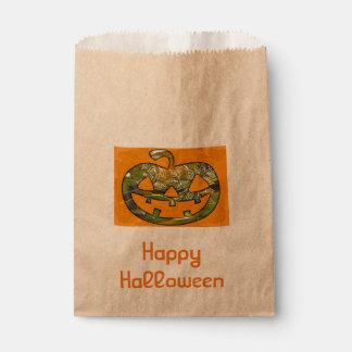 Carved Pumpkin & Happy Halloween custom favor bag Favour Bags