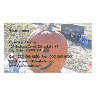 Carved pumpkin on grave stone pack of standard business cards