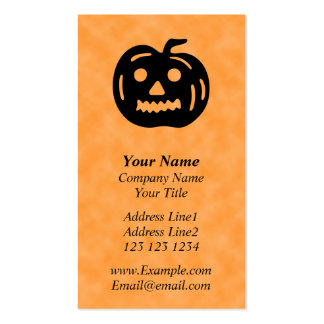Carved Pumpkin Silhouette with Teeth. Business Cards