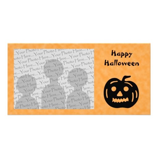 Carved Pumpkin Silhouette with Teeth. Photo Cards