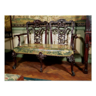 Carved sofa, with tapestry seat, similar to poster
