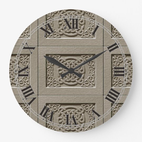 Carved Stone Celtic Knots Pattern Wall Clock