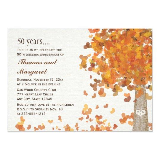 Carved Tree Fall 50th Anniversary Photo Invitation