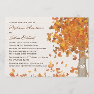 Carved Tree Initials Fall Wedding Invitations