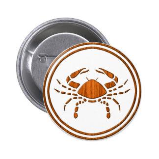 Carved Wood Cancer Zodiac Symbol 6 Cm Round Badge