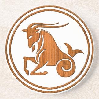 Carved Wood Capricorn Zodiac Symbol Beverage Coaster