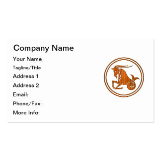 Carved Wood Capricorn Zodiac Symbol Pack Of Standard Business Cards