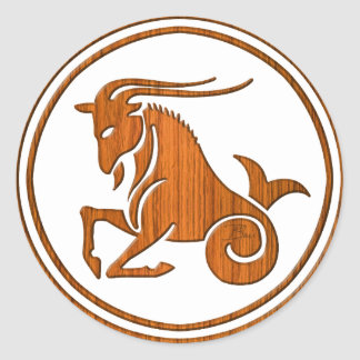 Carved Wood Capricorn Zodiac Symbol Round Sticker