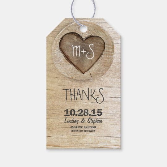 Carved Wood Heart Rustic Country Wedding Gift Tags