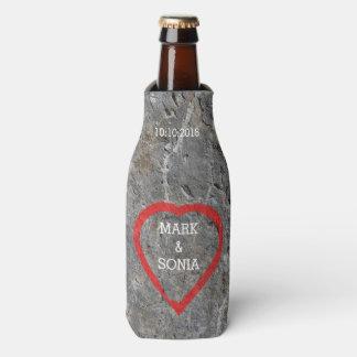 Carved Wood Heart Rustic Wedding Bottle Cooler