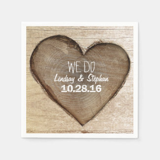 Carved Wood Heart Rustic Wedding Disposable Napkin
