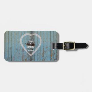Carved Wood Heart Rustic Wedding Luggage Tag