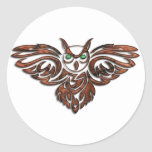 Carved Wood Horned Owl Round Sticker