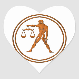 Carved Wood Libra Zodiac Symbol Heart Sticker