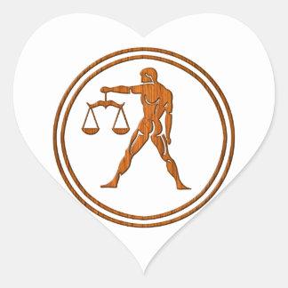 Carved Wood Libra Zodiac Symbol Heart Sticker