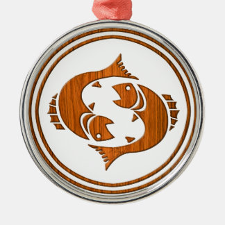 Carved Wood Pisces Zodiac Symbol Christmas Ornament