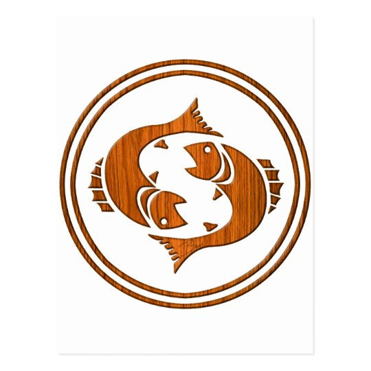 Carved Wood Pisces Zodiac Symbol Postcard