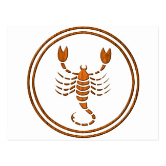 Carved Wood Scorpio Zodiac Symbol Postcard